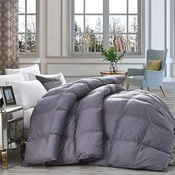 Luxurious Heavy Goose Down Comforter King Size Duvet Insert, Classic Gray, Premium Baffle Box, 1 ...