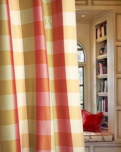 Savanna Faux Silk Taffeta Checkered Lined Rod Pocket Window Curtain/ Drape /Panel (Ivory Green & ...