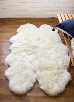 Super Area Rugs Genuine Thick Sheepskin Rug Four Pelt 4ft x 5.5ft Natural Fur, Quarto