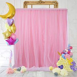 Light Pink Tulle Backdrop Curtain 5ft×7ft for Wedding Baby Shower Decorations Photography Backgr ...