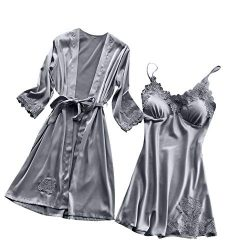 Cenglings Women Sexy Lingerie Silk Lace Robe Dress Babydoll Nightdress Sleepwear Kimono 1pc Dres ...