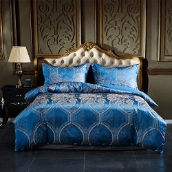 AiMay Duvet Cover Sets Satin Jacquard Rich Silk 100% Luxury Super Soft Microfiber with Zipper Cl ...