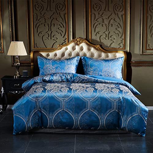 AiMay Duvet Cover Sets Satin Jacquard Rich Silk 100% Luxury Super Soft Microfiber with Zipper Cl ...