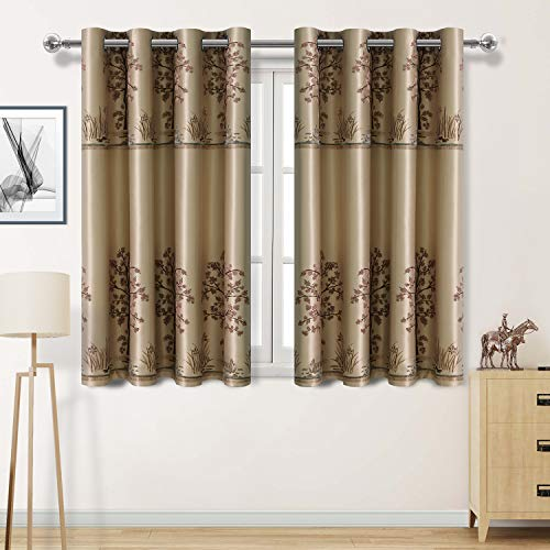 DWCN Faux Silk Jacquard Blackout Curtains Thermal Insulated Light Blocking Grommet Living Room W ...