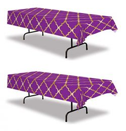 Beistle 53576 Lattice Tablecover, 2 Piece, 54″ x 108″ Purple/Gold