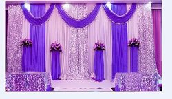 LB Wedding Stage Decorations Backdrop Party Drapes with Swag Silk Fabric Curtain (Purple) SM005-2