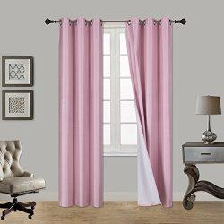 Luxury Discounts 1 Piece Thick Faux Silk Blackout Insulated Room Darkening Grommet Top Window Cu ...