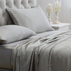 Orose 4Pcs 100% Charmeuse Mulberry Silk Bed Sheet Set Seamless Deep Pocket (Queen, Grey)