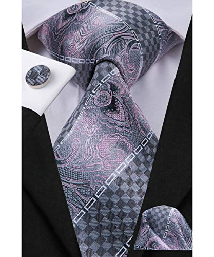 Dubulle Mens Pink and Gray Silk Necktie and Cufflinks Set