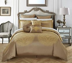 Chic Home 9 Piece Lana Faux Silk Luxury Large Medalion Jacquard with embroidery details and trim ...