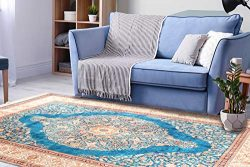 "Silk Touch Turkish Area Rug 3×5 feet (2'8"" by 4'6"") Royal Blue Colo ..."