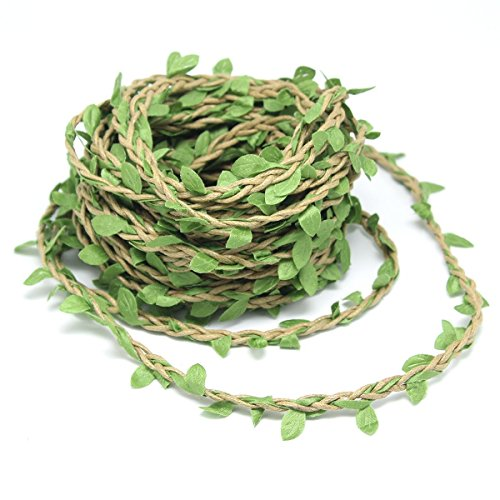 ICYANG 33 Feet Natural Leaves Twine String, Creative Burlap Leaf Ribbon 5MM with Artificial Gree ...