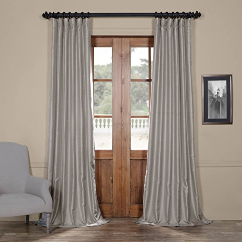 Half Price Drapes PDCH-HANB92-108 Yarn Dyed Faux Dupioni Silk Curtain, Elemental Grey, 50 x 108