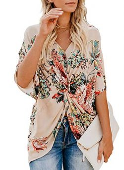 Imily Bela Womens Fashion Floral Blouses Twist Front Hawaiian Summer Work Shirts Tops Apricot