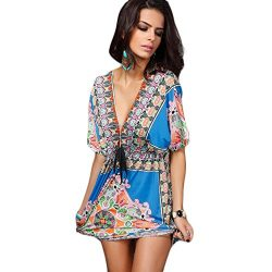 NOVMAY Women Bohemian Dress Vintage Printed V-Neck Backless Tunic Dress Casual Dress Beach Cover ...