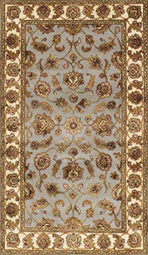 Pasargad Home Agra Collection Hand-Knotted Silk and Wool Area Rug- 3′ 0″ X 5′  ...