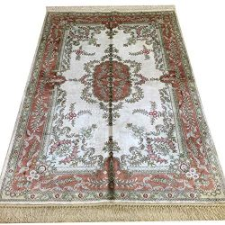 Yilong 4'x6′ Handmade Silk Persian Rug for Living Room Oriental Qum Carpet