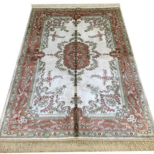 Yilong 4'x6′ Handmade Silk Persian Rug for Living Room Oriental Qum Carpet