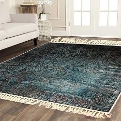 Home Must Haves Blue Brown Faux Silky Luxury Persian Oriental Flat Weave High Density Large Area ...