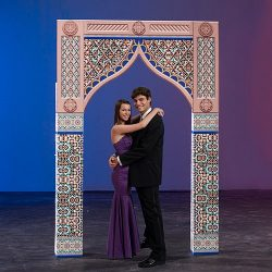 6 ft. 11 in. Moroccan Nights Small Center Arch Standup Photo Booth Prop Background Backdrop Part ...