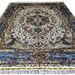 Yuchen 10'x14′ Large Blue Hand Knotted Persian Silk Rug for Living Room