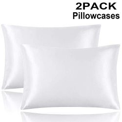 Onory 2 Pack Silk Satin Queen Pillowcases for Hair Cool and Easy to Wash Both Sides Hypoallergen ...