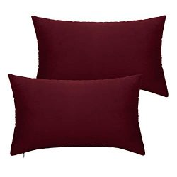 Lewondr Velvet Throw Pillow Case, 2 Pack Soft Solid Color Modern Square Pillow Case Throw Cushio ...