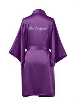 SIORO Bridesmaid Robes for Wedding Party Womens Silk Satin Bathrobes with Gold Rhinestone Short, ...