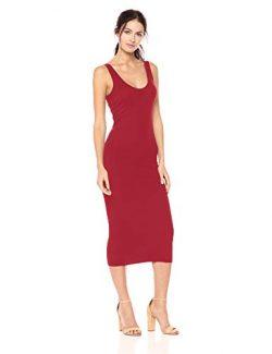 Enza Costa Women's Stretch Silk Rib Tank Midi Dress, Fuchsia red, L