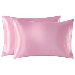 EXQ Home Satin Pillowcases Set of 2 for Hair and Skin Standard/Queen Size 20×30 Pink Pillow ...