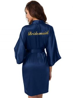 SIORO Silk Robes for Bridesmaids Personalized Womens Satin Bathrobe Wedding Party Short Kimono D ...