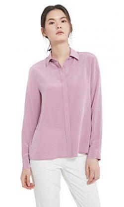 LilySilk Silk Dress Shirts for Women Sandwashed Mulberry Silk Long Sleeve-Pale Lilac-M