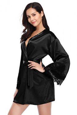 Santou Satin Kimono Robe for Women Long Sleeve Lace Trim Bathrobes Sleepwear Nightwear Black Medium