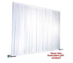 ICE Silk White Backdrop Wedding Wall Drape Photo Background Plain Top with Velcro Tape (10ft x 10ft)