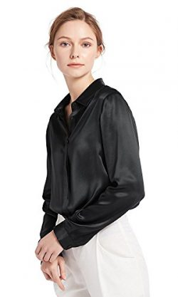 LilySilk Women's 100 Silk Blouse Long Sleeve Lady Shirt 22 Momme Charmeuse Silk L Black