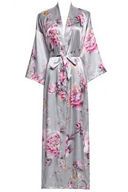 Zarachilable Women 's Long Kimono Robe Floral Bridesmaid Robe,Bridal Robe (one Size, Grey)