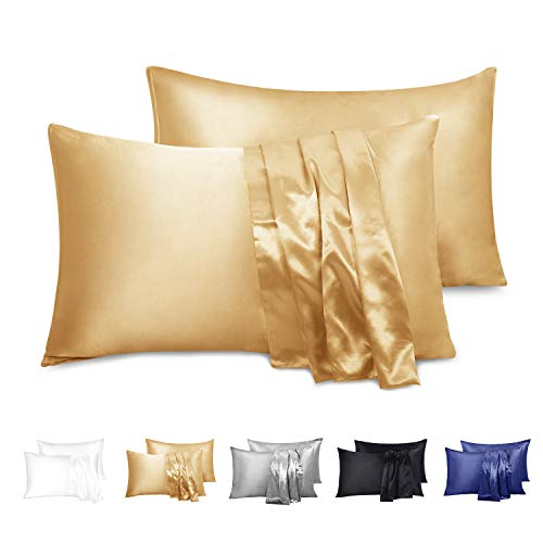 Duerer Satin Pillowcase 2 Pack for Hair and Skin, Soft Pillow Cases Covers with Envelope Closure ...