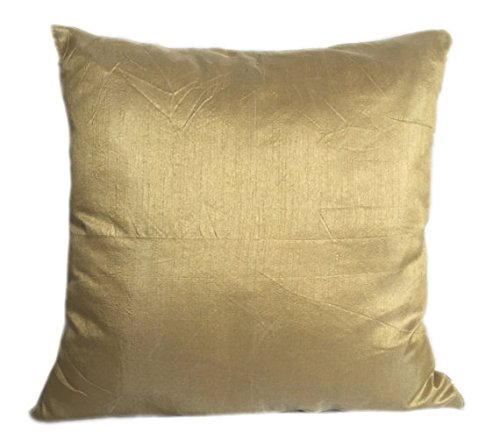 The White Petals Set of 2 Gold Art Silk Pillow Covers, Plain Silk Cushion Cover, Solid Color Gol ...