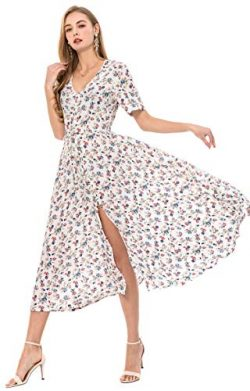 Wantdo Women's Button Up Split Floral Maxi Dress Casual V-Neck Short Sleeve Long Dresses f ...