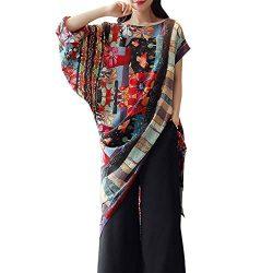 HIRIRI Women's Exotic Style Dress Pullover Long Sleeve Short Sleeve Blouse Slash Hem Patte ...