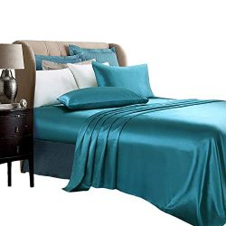 ARTALL Silky Super Soft 4 Piece Deep Pocket Satin Sheet Set, King Size Teal