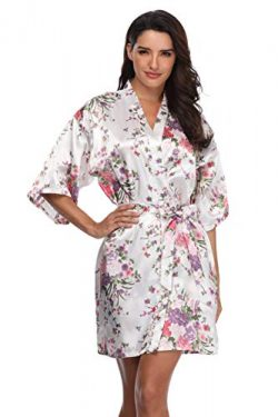 Women's Floral Bride Bridesmaids Robe Satin Wedding Kimono Bridal Dressing Gown Sleepwear, ...