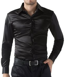 PJ PAUL JONES Men's Solid Color Shiny Satin Silk Like Dance Prom Dress Shirt(S,Black)