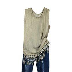 HIRIRI Loose Shirts Women Fringe Sleeveless Solid Color Vest Girls O-Neck Casual Hem Tassel Blou ...