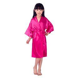 Children's Silk Stain Pure Kimono  Dressing Gown Kimono Robes Sleepwear, Rose, 6