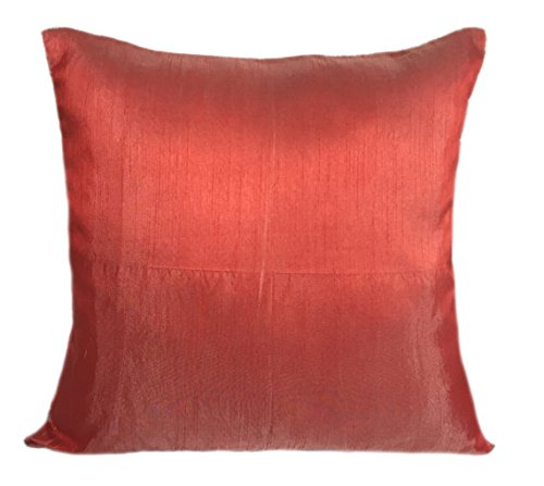 The White Petals Set of 2 Poppy Red Art Silk Pillow Covers, Plain Silk Cushion Cover, Solid Colo ...