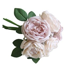 Artificial Flowers, MaxFox 5 Heads Peony Silk Fake Bridal Bouquet Rose Leaf Flower Home Office W ...