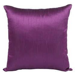 The White Petals Set of 2 Purple Art Silk Pillow Covers, Plain Silk Cushion Cover, Solid Color P ...