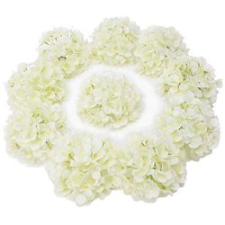 LUSHIDI 10PCS Silk Hydrangea Heads with Stems Artificial Flowers for Wedding Party Home Decor (O ...