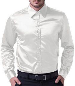 PJ PAUL JONES Men's Solid Color Shiny Satin Silk Like Dance Prom Dress Shirt(S,White)